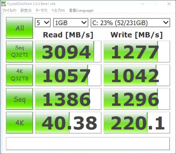 Samsung SSD 250GB 960 EVO M.2 Type2280のベンチマーク