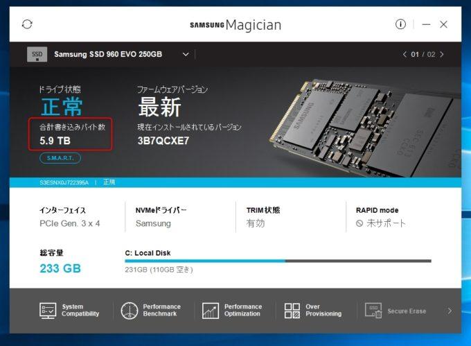 約1年使用した「Samsung SSD 250GB 960 EVO M.2 Type2280」の総書込み量