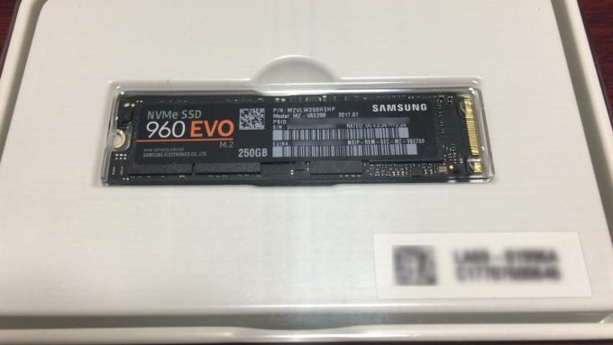 Samsung SSD 250GB 960 EVO M.2 Type2280の基盤