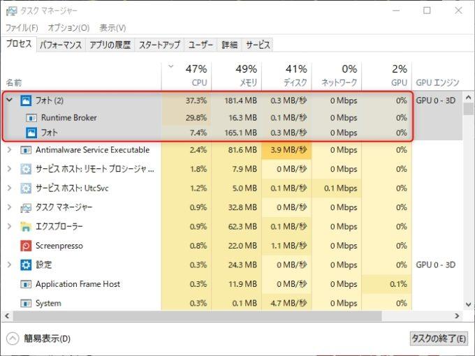CPUの異常使用率