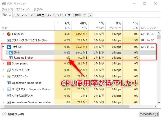 タスクマネージャーでCPU使用率の低下を確認