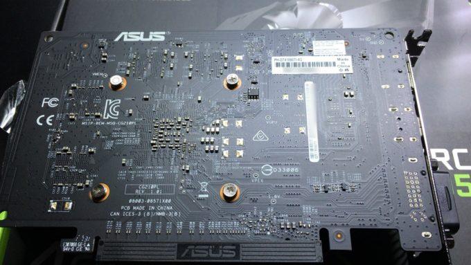 ASUS NVIDIA GeForce GTX1050TIの裏面