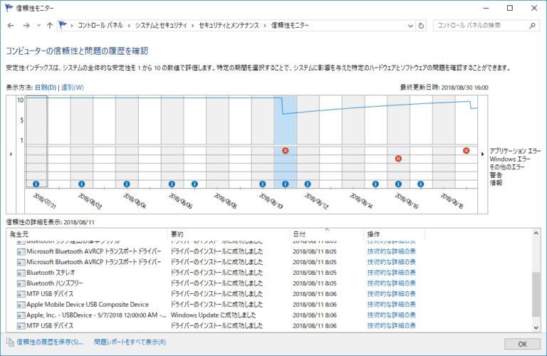 Windows10の信頼性モニターの起動方法