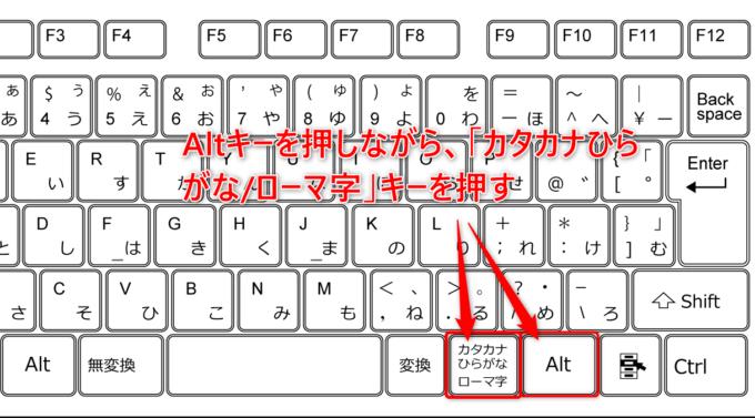 キーボードを使用して、かな入力からローマ字入力を切り替える