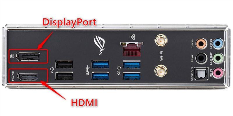 映像出力用の端子は左端のHDMIとDisplay Portの2種類