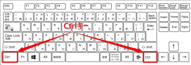 Ctrlキーを使ったキーボードショートカットキー
