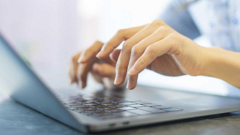キーボードをタイプするさいには、手の置き方が重要