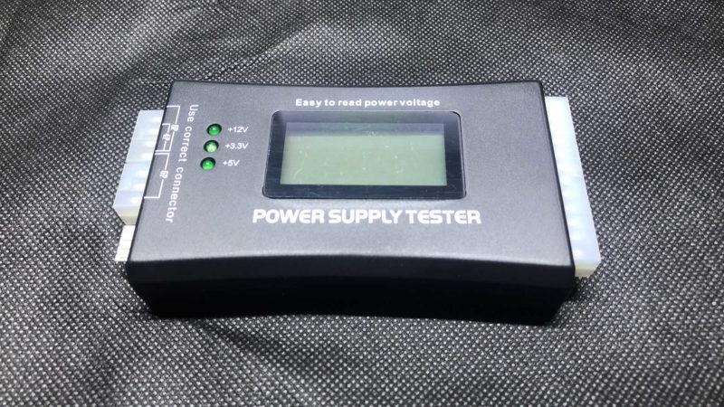 電源ユニットの簡易テスターを使って電圧測定