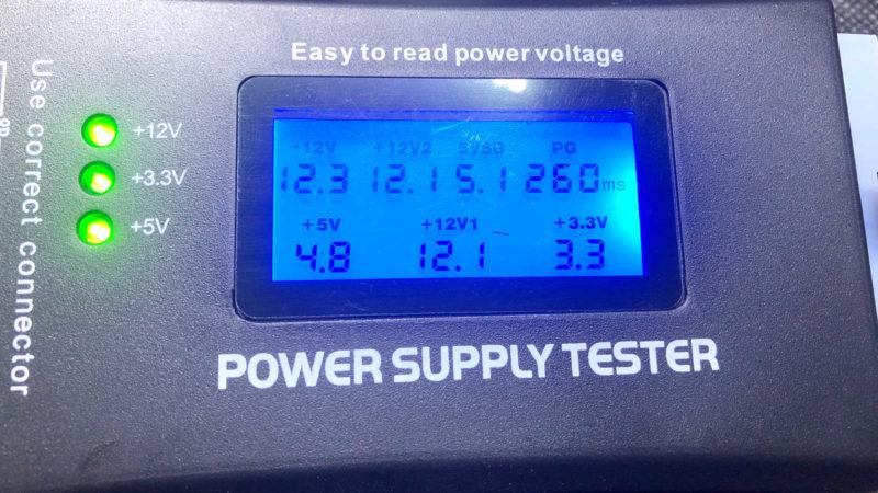 ATXメインコネクター(24pin/20pin)とATX12Vコネクターを接続してチェック