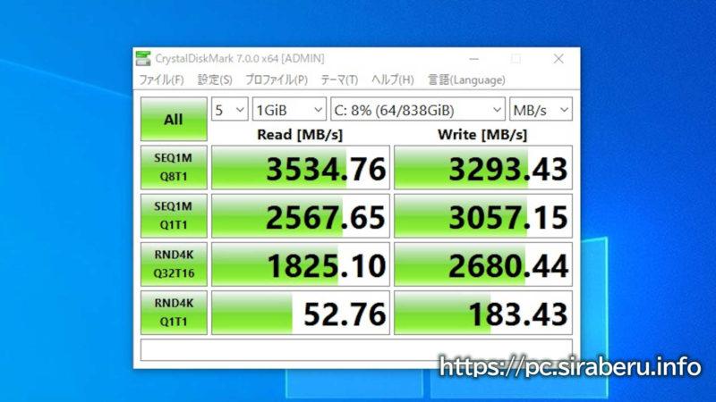 「Samsung 970 EVO Plus 1TB」のCrystalDiskMarkの結果