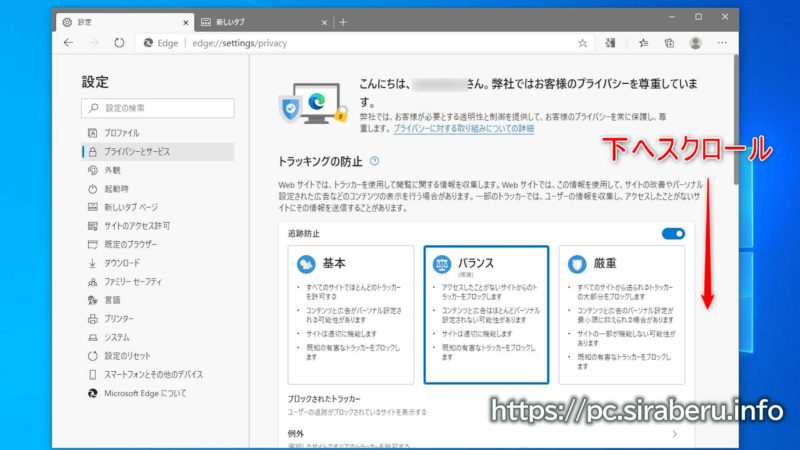 プライバシーとサービス画面