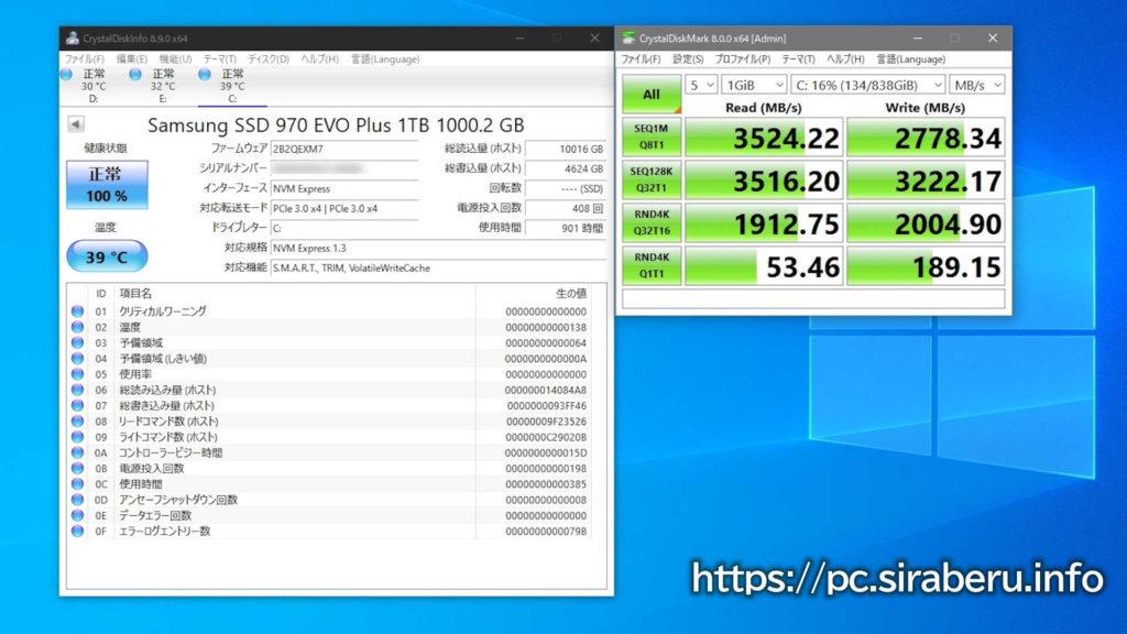 Samsung 970 EVO Plus 1TBを半年使用した性能