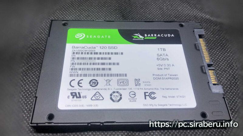 「Seagate SSD 1TB BarraCuda 120」の裏面